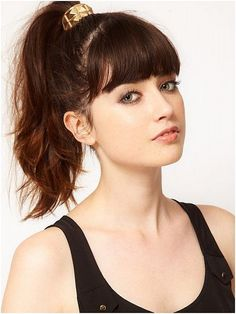 High Ponytail Hairstyles with Bangs