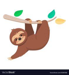 Joyful cute cartoon sloth hanging on a branch Vector Image – Animal Drawing Sloth Cartoon, Cartoon Art, Baby Sloth, Cute Sloth, Animal Drawings, Cute Drawings, Painting For Kids, Art For Kids, Baby Animals