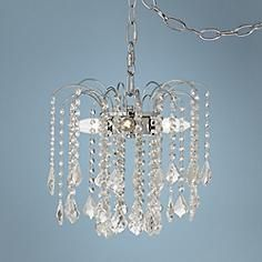 "Nicolli Clear Crystal 12"" 4-Light Plug-In Swag Chandelier"
