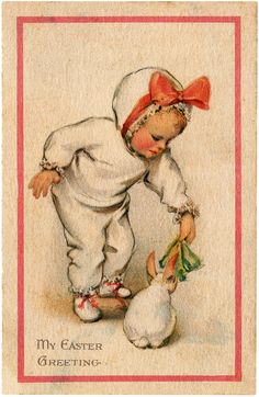 Vintage Adorable Child Feeding Bunny Easter Greeting Image!