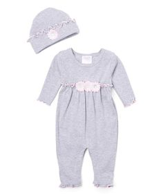 Another great find on #zulily! Gray & Pink Roses Gathered Playsuit & Beanie #zulilyfinds