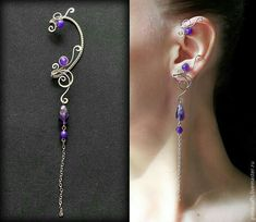 jewelry made of wire, earrings, cuff wire wrap Wire Jewelry Designs, Handmade Wire Jewelry, Jewelry Patterns, Jewelry Crafts, Ear Jewelry, Beaded Jewelry, Jewelery, Jewelry Making, Diy Jewelry Necklace