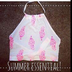 pink and white spaghetti strap blouse summer top halter neck top crop tops t-shirt halter neckline halter top white