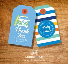 Vintage Beach Kombi Surf Thank You Lolly Bag Party Tags