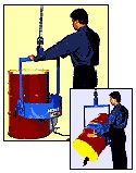 Drum Handling Dollies, Handlers & Lifting Equipment - Material Handling Equipment Product Information - 55 Gallon Below-Hook Within Reach Dr...