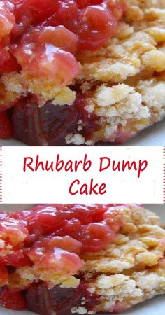 Yummy Rhubarb Dump Cake Ingredients: 1 pound rhubarb, cut into inch pieces (between 3 and 4 cups) 1 cup white sugar 1 ounce package) strawberry jell-o 1 package yellow cake mix 1 cup water cup butter, melted Directions: Preheat oven to Köstliche Desserts, Delicious Desserts, Dessert Recipes, Yummy Food, Rhubarb Desserts Easy, Yummy Yummy, Rhubarb Dishes, Homemade Desserts, Health Desserts