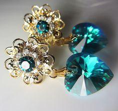 Swarovski Blue Heart Earrings Teal Swarovski Crystal by NataliaKh
