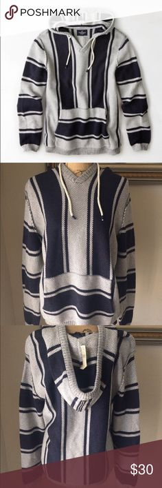 AEO Baja Hoodie, shipmate blue Shipmate blue stripes with grey and white lining perfect for cold days American Eagle Outfitters Jackets & Coats