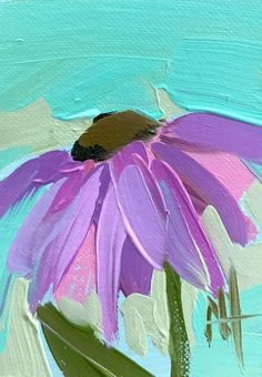 Coneflower no. 10 Original Floral Oil Painting by Angela Moulton ACEO Art #Impressionism