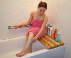Cedar Bathtub Bench. Why did I not think of this!!!! So easy to make!