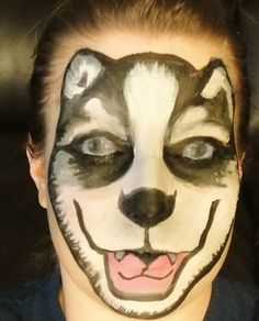 Husky wolf with eyes closed face paint Halloween www.facebook.com/catcheyemarvels
