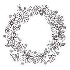 Free hand-embroidery pattern: Daisy wreath · Needlework News | CraftGossip.com