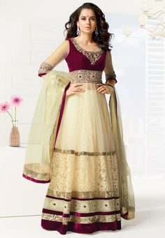 Off White Net Abaya Style Churidar Kameez: KVF55