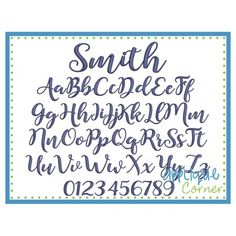 Smith Embroidery Font Applique Corner