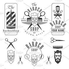 Set of vintage barber shop by ART69M on @creativemarket
