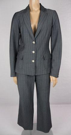 TED BAKER Pant Suit Size 2 XS Gray Pinstripe Career 3 Button Jacket Sample OOAK #TedBaker #PantSuit