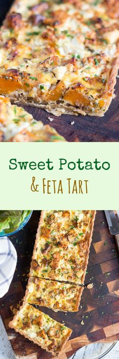 This Sweet Potato and Feta Tart, with its hidden layer of caramelised onion, is the perfect vegetarian dish for an easy lunch or a light dinner. by julie Vegetarian Dish, Vegetarian Recipes, Cooking Recipes, Healthy Recipes, Vegetarian Sweets, Sweets Recipes, Recipes Dinner, Quiches, Feta