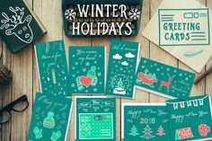 ❆Hand drawn winter cards❆ by WonderMe on Creative Market