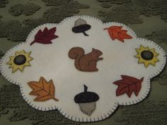 Primitive Fall/Autumn Sunflowers Acorns Leaves Penny Rug Candle Mat Table Mat #NaivePrimitive #Seller