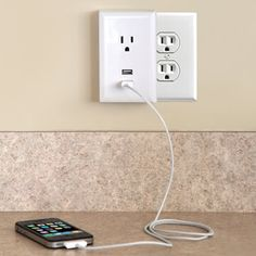 Plug-in USB Wall Outlets - I need some of these, they just plug into your wall outlet, changing a standard wall outlet into one standard plug and 2 usb plugs