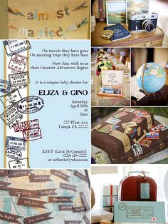 travel theme inspiration -  pics: {Travel themed baby shower invitation from Paper and Pigtails} {Travel themed DIY Banner- La Belle Bride}{Vintage Suitcase Cake-Wish Special Events} All other gorgeous photo inspirations via one of my favorite wedding blogs Style Me Pretty-  Travel Themed Wedding and Rehearsal Dinner -  board by lmintrone, via Flickr
