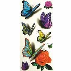 3425bfd67 TAFLY(TM) 5 Sheets Waterproof Blue Butterfly Rose Flower Sticker Tattoo  Foil Decal Fashion Body Art Fake Tattoo ** Continue to the product at the  image ...