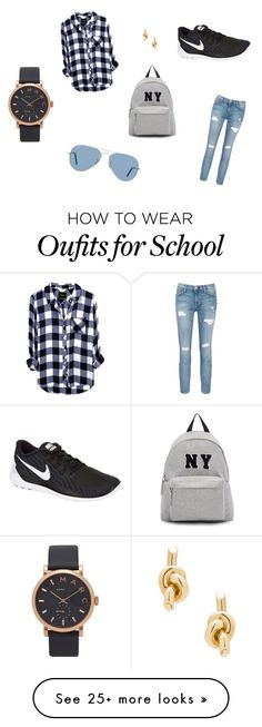 """School outfit"" by bentesalomons on Polyvore featuring Current/Elliott, NIKE, Joshua's, Ray-Ban, Marc by Marc Jacobs and Balenciaga"
