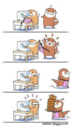 Cute Kawaii Animals, Cute Baby Animals, Cute Illustration, Character Illustration, Otter Cartoon, Otter Love, Pusheen Cat, All Things Cute, Fanart