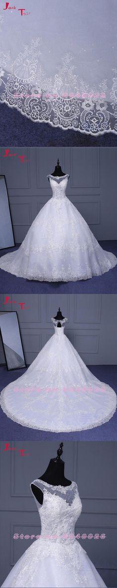 Jark Tozr Vestidos Custom Made Lace Up Open Back A-line Bridal Gowns Gelinlik 2017 Beading Appliques Wedding Dresses Plus Size