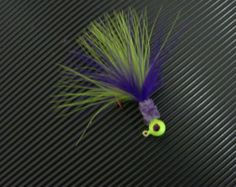 A Chartreuse and Purple Crappie Jig. Color # M37 Purple Pickle - FREE SHIPPING - Edit Listing - Etsy