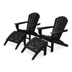 Perfect for kicking back in your back yard, the POLYWOOD South Beach Adirondack Chair Set features two South Beach Adirondack chairs and two ottomans all featuring POLYWOOD recycled lumber construction that's durable enough to withstand the elements. Adirondack Chairs, Outdoor Chairs, Outdoor Furniture, Outdoor Decor, Small Beach Cottages, Fire Pit With Rocks, Chair And Ottoman Set, South Beach, Renting A House