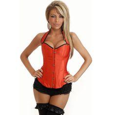 Sexy Halter Strap Women Satin Over-bust Corset