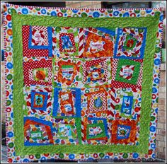 Cute Cute Baby quilt in Dr. Seuss fabric, using a wonky pattern which goes so well with Dr. Seuss!