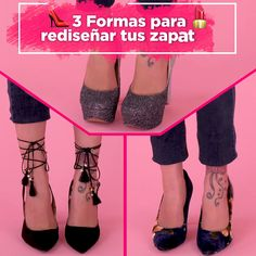 Ways to renew your shoes - If your old shoes already bored you, don't throw them away! Give them a second chance, you can renew them with simple ideas and with which you will not spend too much money. What are you waiting to decorate them! Fashion Tips For Women, Diy Fashion, Fashion Shoes, Shoe Refashion, Creative Shoes, Diy Vetement, Diy Clothes Videos, Old Shoes, Moda Casual