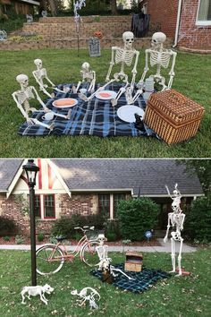 Want to display skulls and skeletons at home? Scroll through the list of skeleton Halloween decoration ideas for outdoors. Halloween Skeleton Decorations, Halloween Displays, Theme Halloween, Halloween Skeletons, Family Halloween, Holidays Halloween, Scary Halloween, Vintage Halloween, Halloween Stuff