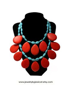 GEMSTONE CORAL Turquoise Statement Necklace by JewelryByJessicaT, $90.00