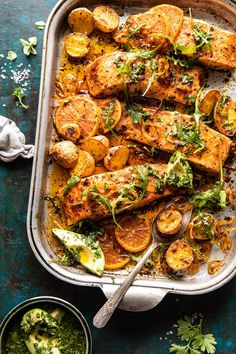 Sheet Pan Salmon with Citrus Avocado Salsa and Potatoes. - Half Baked Harvest
