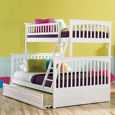 Atlantic Furniture Columbia Bunk Bed Twin Over Full w/ Raised Trundle Bed in White Finish