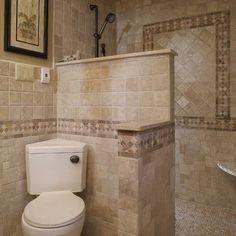 doorless shower design ideas | Mediterranean Home doorless shower Design Ideas, Pictures, Remodel and ...
