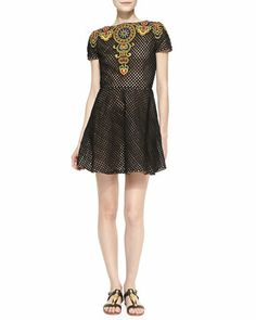 Short-Sleeve Embroidered Fit-and-Flare Dress, Black/Raffia by Valentino at Neiman Marcus.