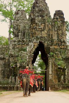 Elephants at South Gate of Angkor Thom