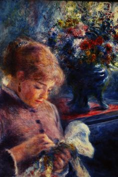 Young Woman Sewing Artwork By Pierre Auguste Renoir Oil Painting & Art Prints On Canvas For Sale Pierre Auguste Renoir, Edouard Manet, Monet, August Renoir, Renoir Paintings, Oil Paintings, Art Gallery, Impressionist Artists, Oil Painting Reproductions