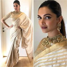 We just can't stop gushing about Deepika Padukone! - Fashion Pick of the Day: Not just as Padmavati, Deepika Padukone keeps it charming and royal in reality too India Fashion, Asian Fashion, Indian Dresses, Indian Outfits, Pakistani Outfits, Indian Clothes, Deepika Padukone Saree, Deepika Ranveer, Deepika Padukone Hairstyles