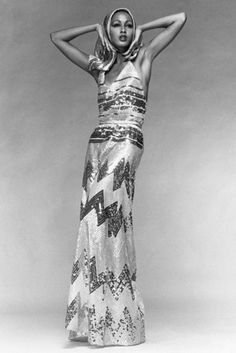 Pat Cleveland started modeling for the Ebony Fashion Fair when she was 14. Here, she poses in a Balestra hooded gown in 1973.