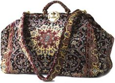 LARGE VINTAGE CARPET BAG GLADSTONE GENUINE LEATHER VGC | eBay