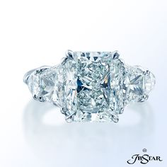 JB Star radiant cut diamond with trapezoid and shield diamonds.  #engagementrings #alsonjewelers