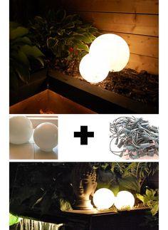 oK THAT IS GENIUS... Glowing Outdoor Orbs - DIY Garden Lighting Ideas - Click for Tutorial