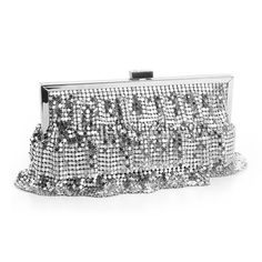 Metallic Silver Ruffles Evening Purse is a Sensational Evening Bag that has the look of Flapper Style Roaring 20's Dresses and is great to Accent any Wedding or Special Event Dress. 3735EB