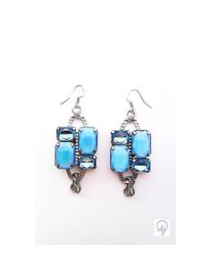 Blue Diamante Crystal Earrings - Upcycle Jewellery - £40.00