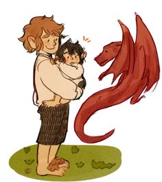 Bilbo with baby Frodo and Smaug by inchells on tumblr. this is adorable